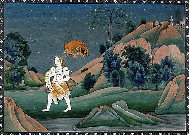 Shiva carrying body of sati on his trident